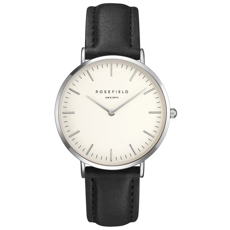 Rosefield Bowery White with Silver on Black Leather Strap Watch