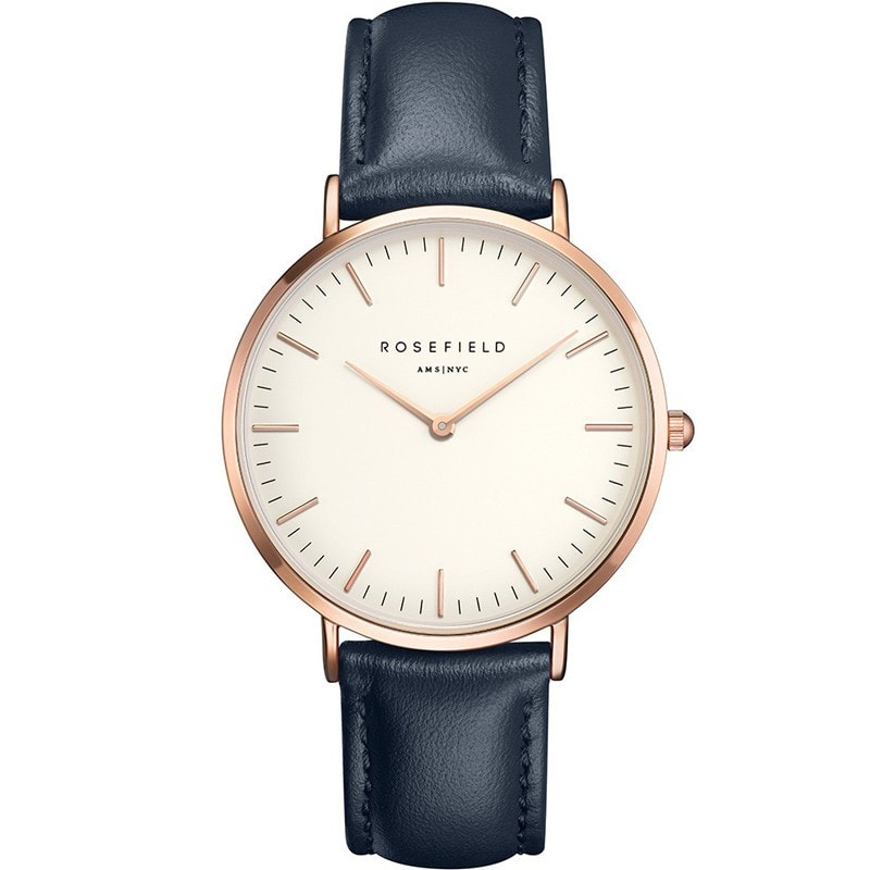 Rosefield Bowery White with Rose Gold on Blue Leather Strap Watch
