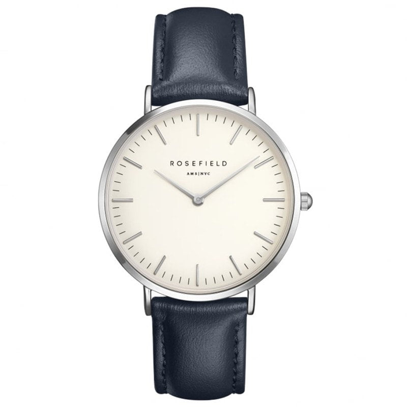 Rosefield Bowery White with Silver on Blue Leather Strap Watch