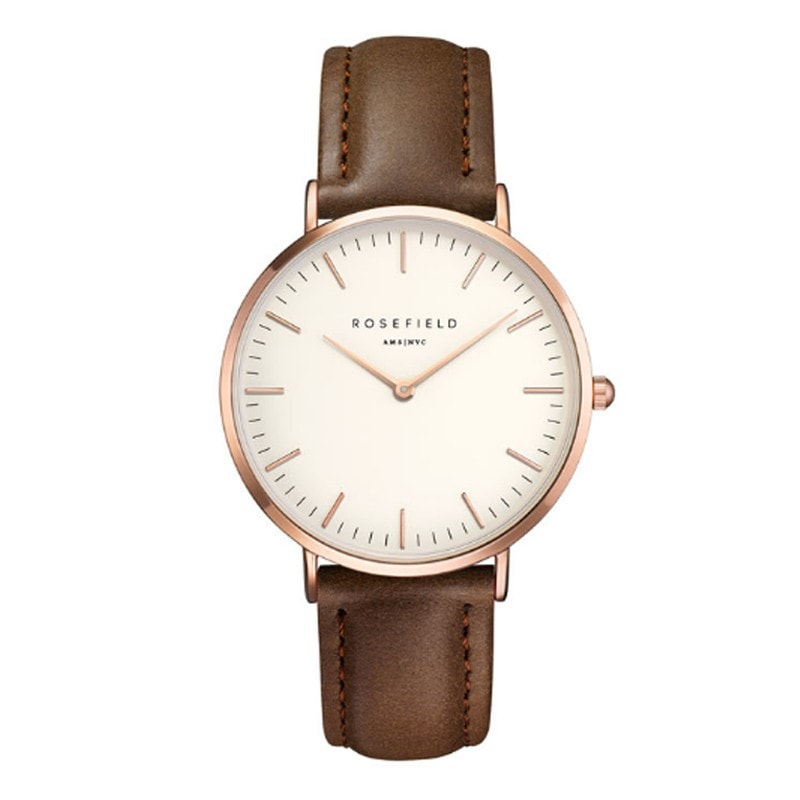 Rosefield Bowery White with Rose Gold on Brown Leather Strap Watch