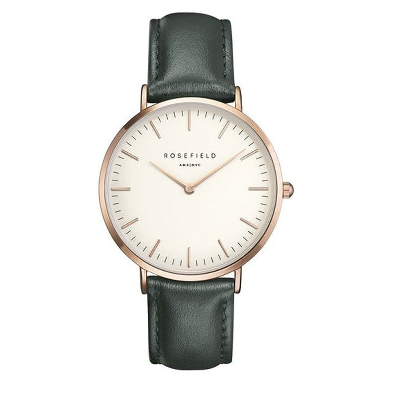 Rosefield Bowery White with Rose Gold on Green Leather Strap Watch