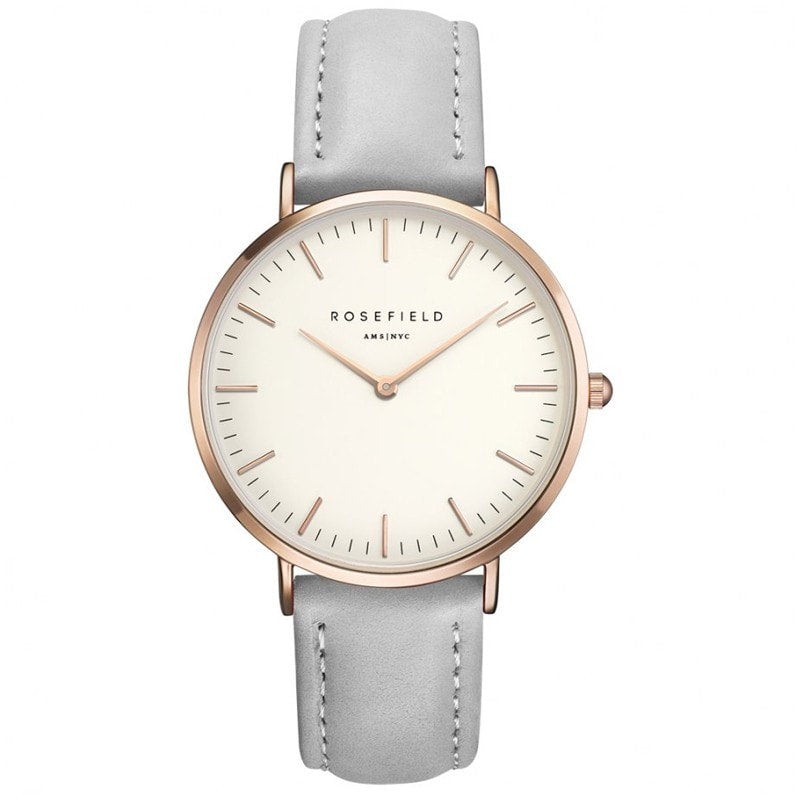 Rosefield Bowery White with Rose Gold on Grey Leather Strap Watch