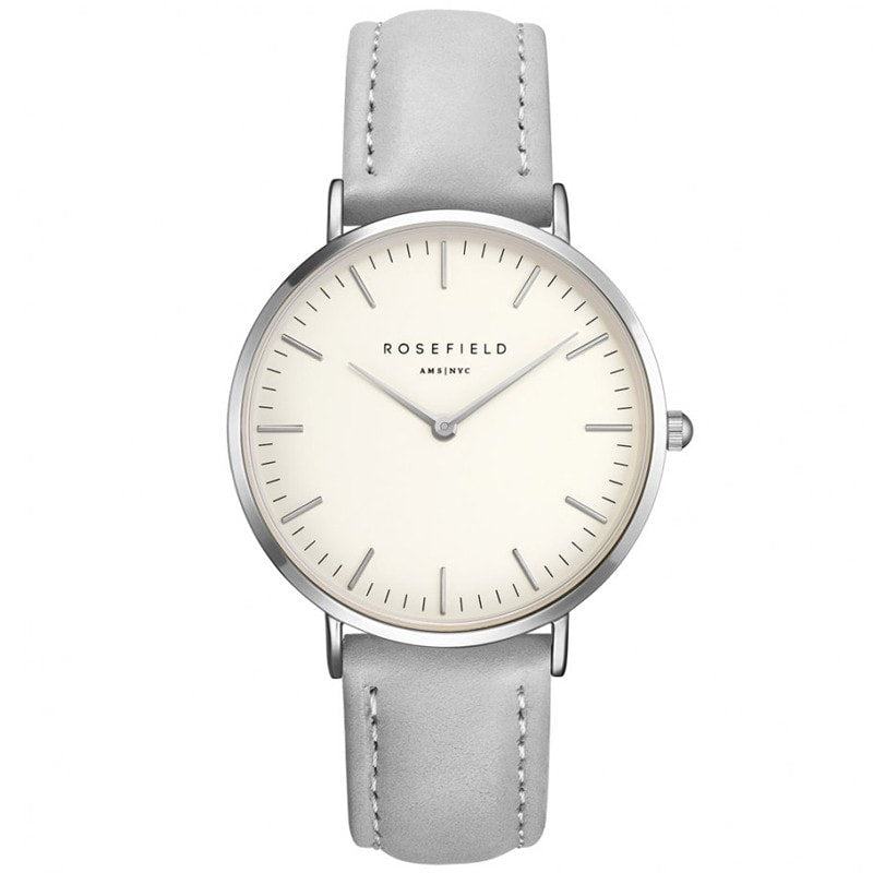 Rosefield Bowery White with Silver on Grey Leather Strap Watch