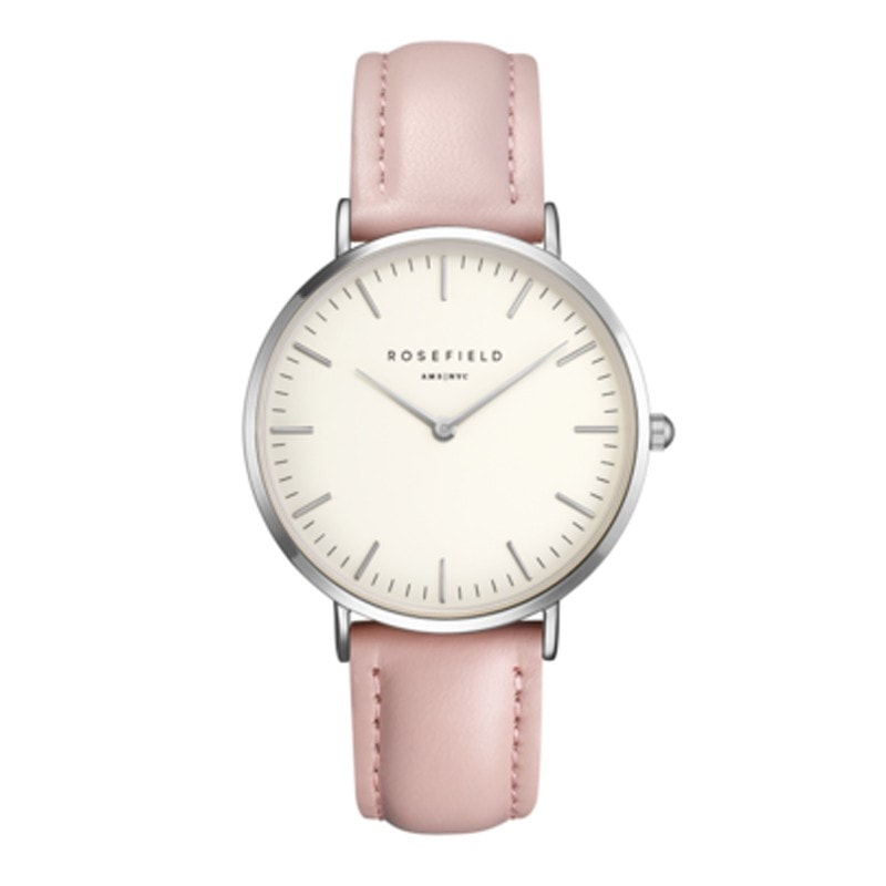 Rosefield Bowery White with Silver on Pink Leather Strap Watch