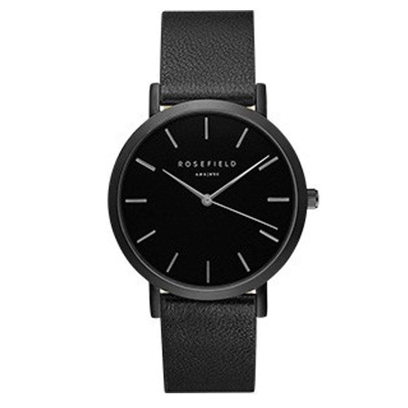 The Gramercy Black on Black Rosefield Leather Strap Watch