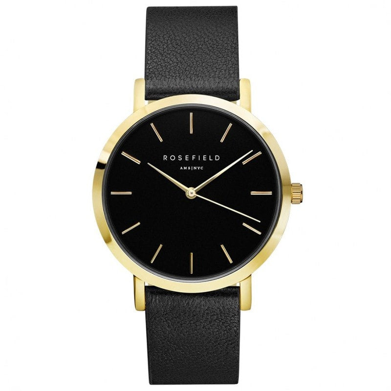 The Gramercy Black on Black with Gold Rosefield Leather Strap  Watch