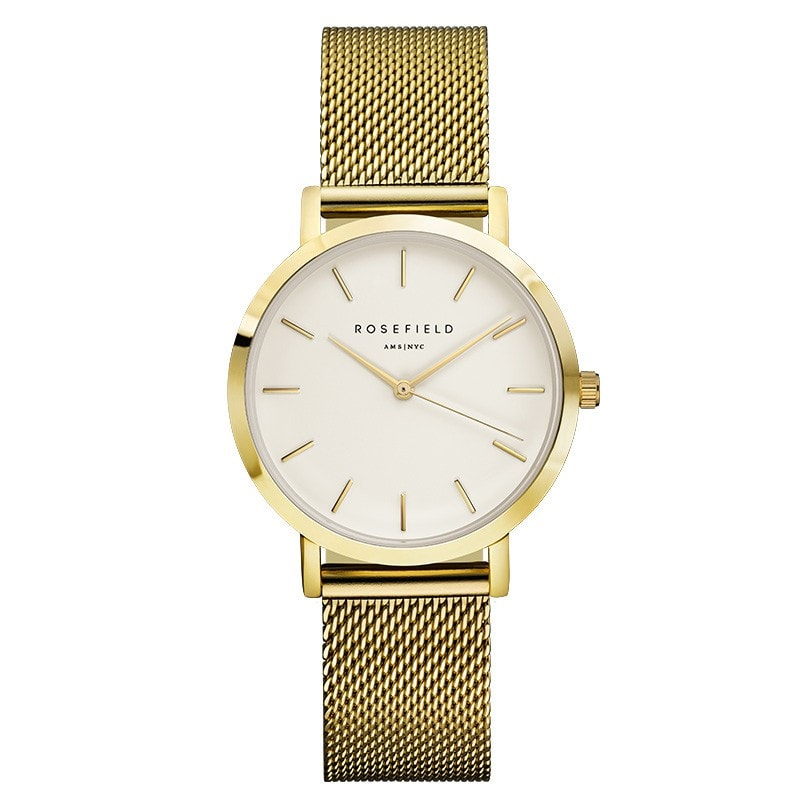 Rosefield Tribeca White on Gold Watch