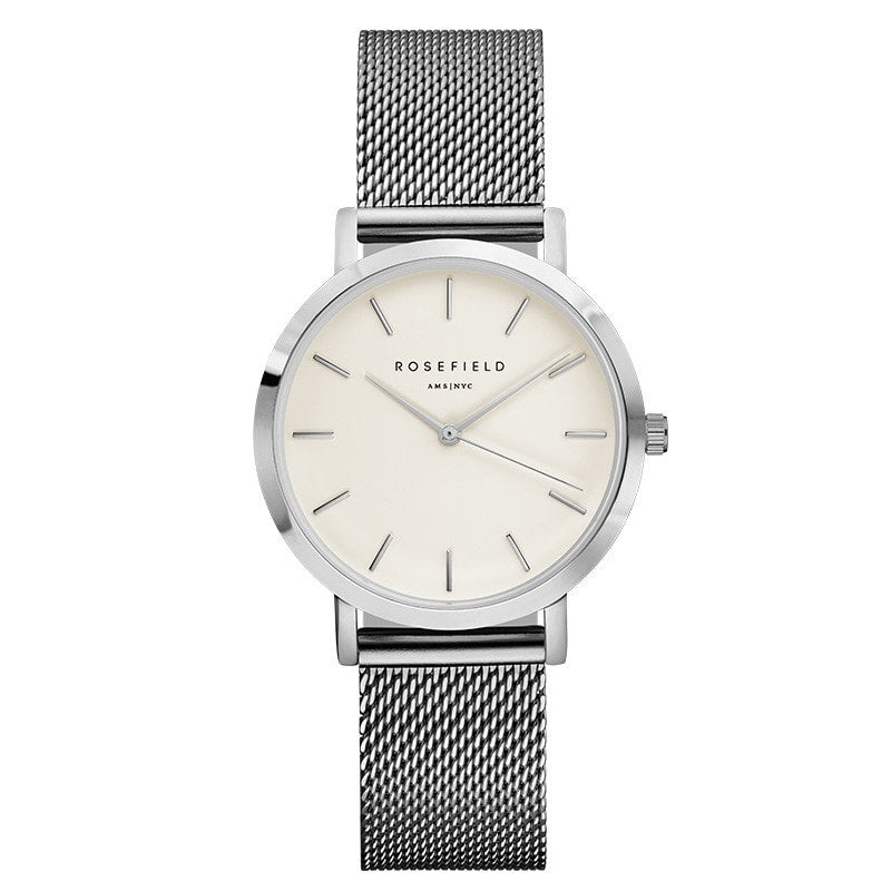 Rosefield Tribeca White on Silver Watch