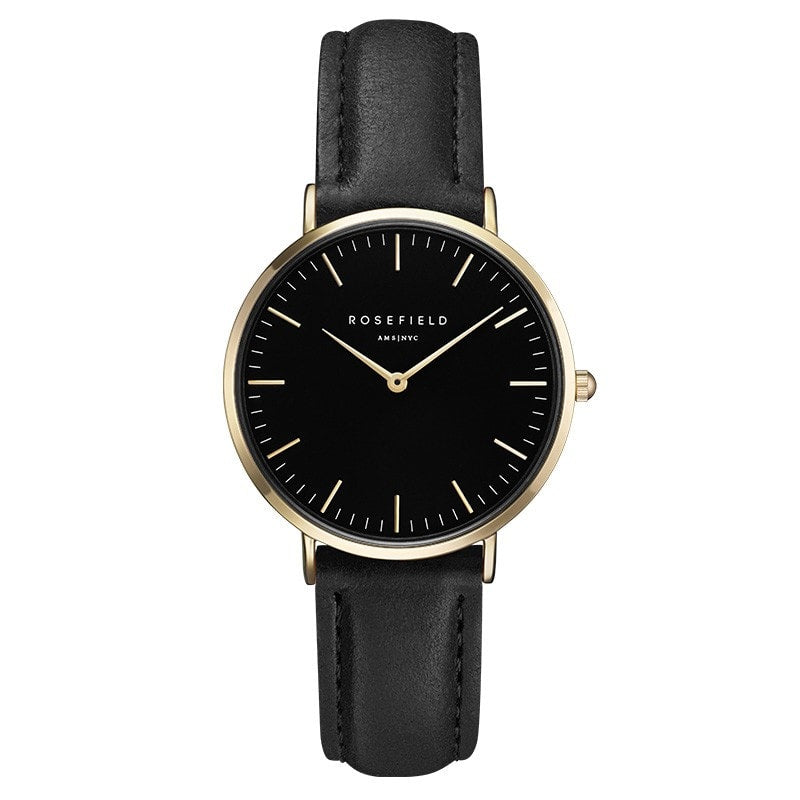 Rosefield Tribeca Black and Gold on Black Watch