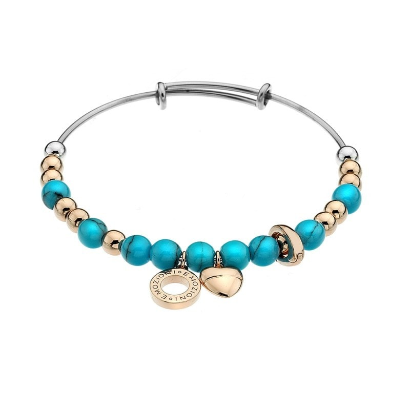 Emozioni Rose Gold Plate Faux Turquoise Bangle