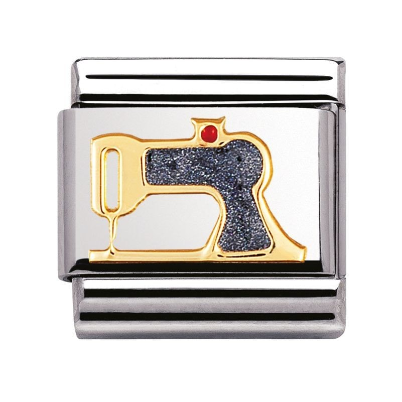Nomination  Stainless Steel With Enamel And 18ct Gold Sewing Machine Charm 03020843