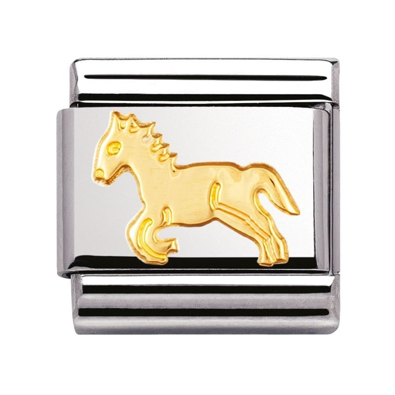 Nomination  Stainless Steel With 18ct Gold Horse Charm 03011209