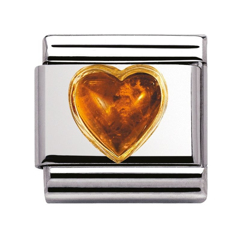 Nomination  Stones Hearts With 18ct Gold Amber Charm 03050101