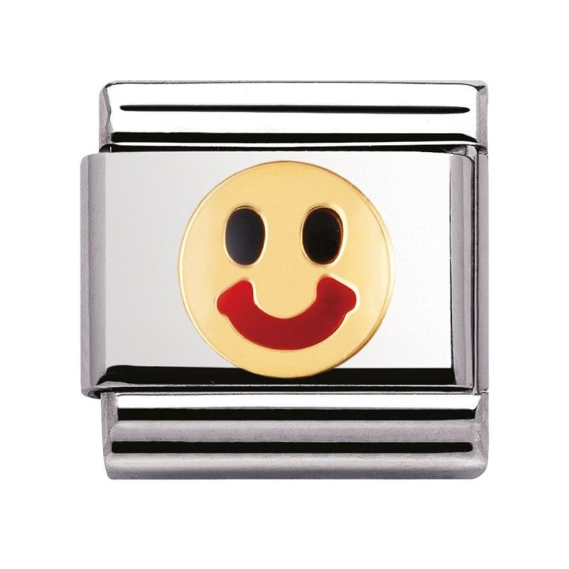 Nomination  Stainless Steel With Enamel And 18ct Gold Smile Charm 03020934