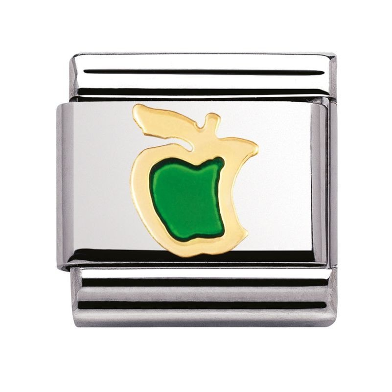 Nomination  Enamel And 18ct Gold Green Apple Charm 03021501