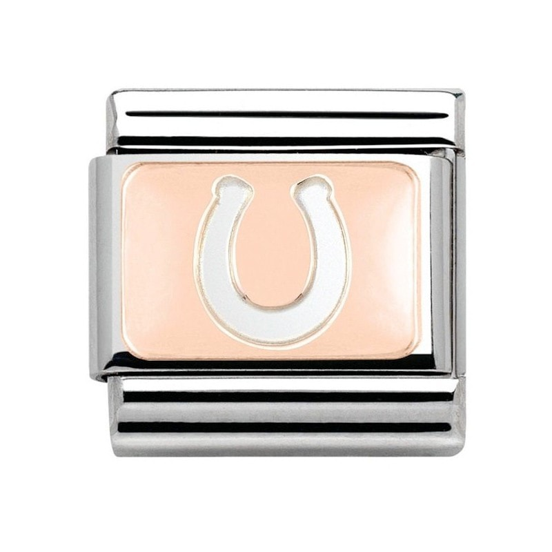 Nomination  Stainless Steel With 9ct Rose Gold Horseshoe Charm 43010111