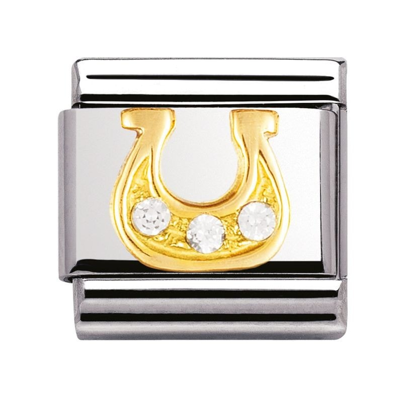 Nomination  Stainless Steel With 18ct Gold And CZ White Danish Horseshoe Charm 03231023