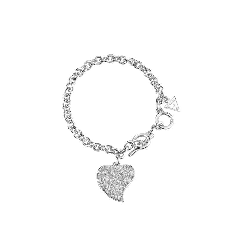 Guess Rhodium Plated Guess Love Charm Bracelet