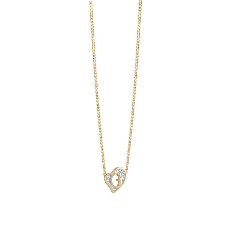 Guess Gold Plated Mini G Heart Necklace