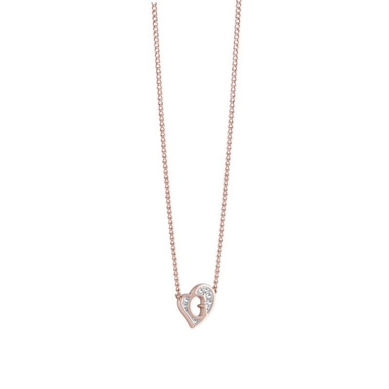 Guess Rose Gold Plated Mini G Heart Necklace