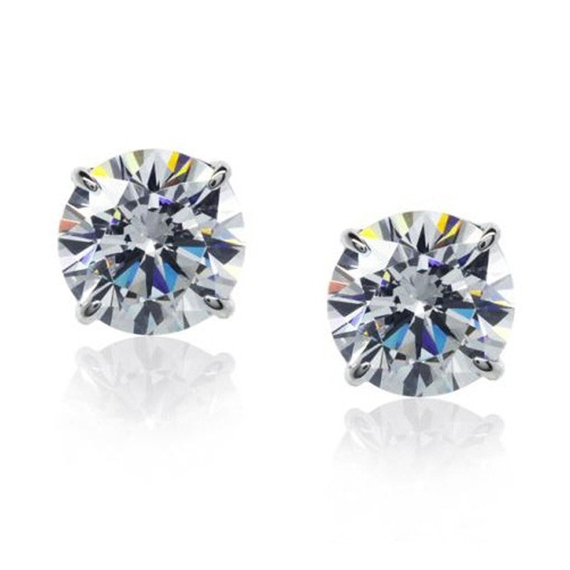 Carat London Brilliant 1.5ct 4 Prongs / 9K White Gold Stud Earrings