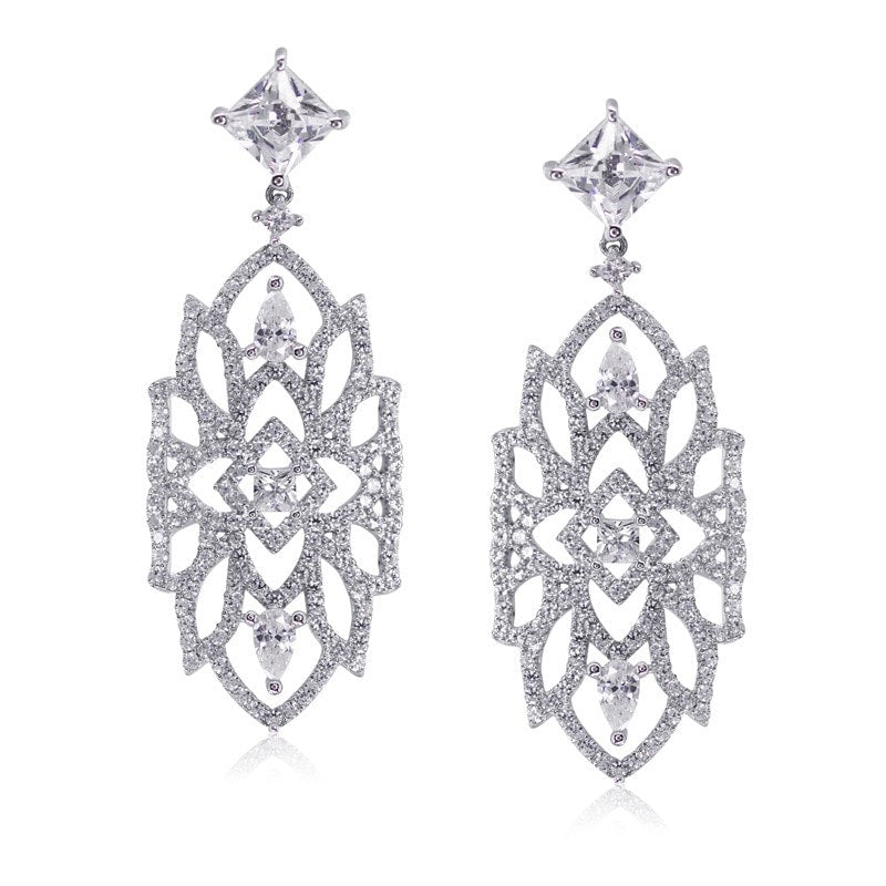 Carat London 'Willa' Sterling Silver, White Gold, Drop Earrings