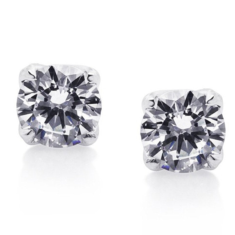Carat London Brilliant 1ct 4 Prongs / 9K White Gold Stud Earrings