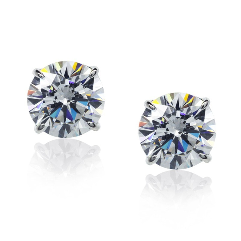 Carat London Brilliant 0.5ct 4 Prongs / 9K White Gold Stud Earrings