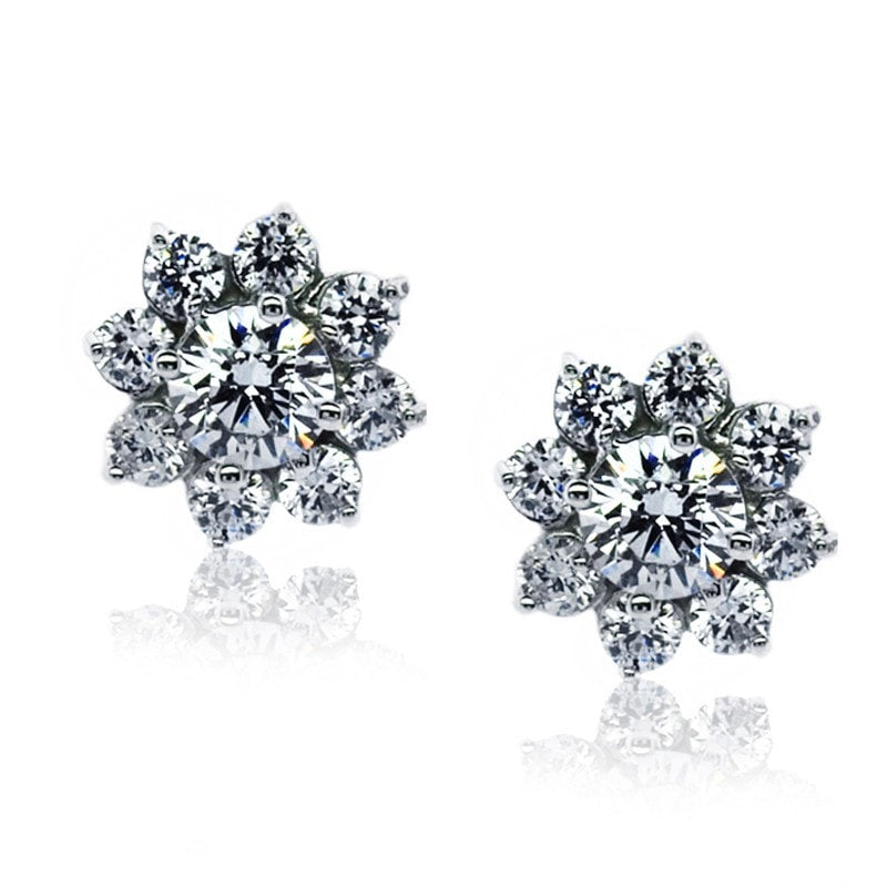 Carat London Brilliant 0.33ct White Gold Cluster Stud Earrings
