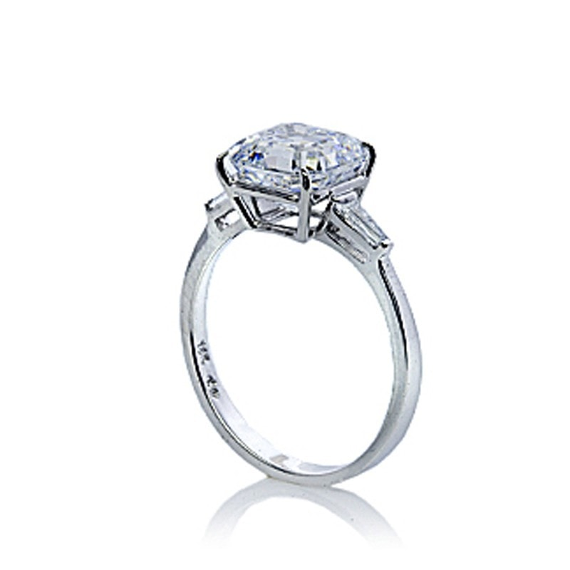 Carat London Baguette & Asscher Cut Diamond White Solitaire Ring (M)