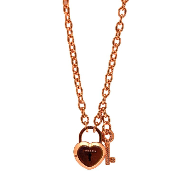 Rebecca Rose Gold Heart Padlock Cz Key Necklace