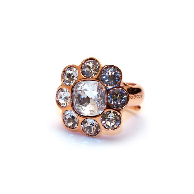 Rebecca Rose Gold Flower Cz Ring