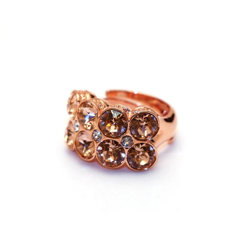 Rebecca Rose Gold Cz Champagne Statement Ring