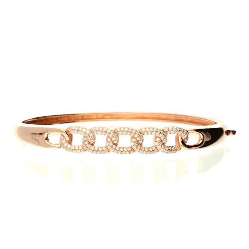 Zohara Chain Link Bangle In Rose Gold