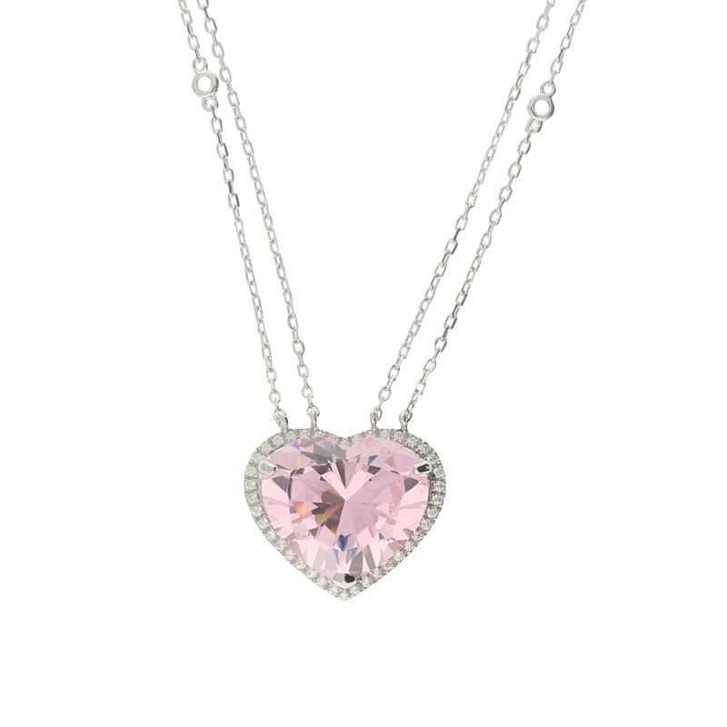 Zohara Passion Pink Heart Pendant Necklace