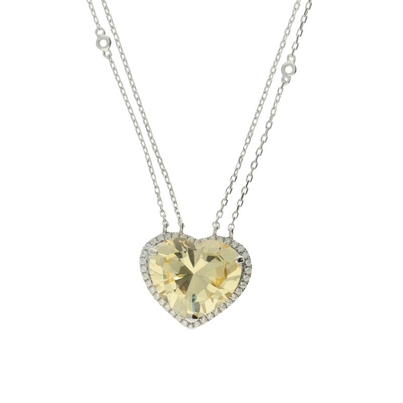 Zohara Passion Yellow Heart Pendant Necklace
