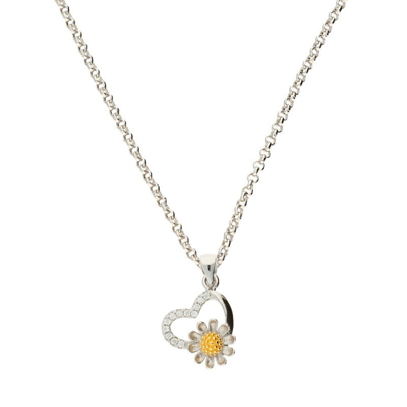 Darcey Open Heart Pendant With Flower Detail In Sterling Silver