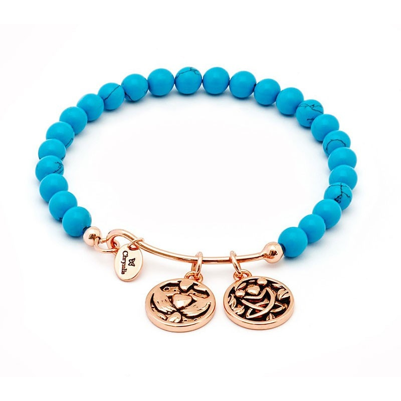Chrysalis Rose Gold Friendship Turquoise Bangle