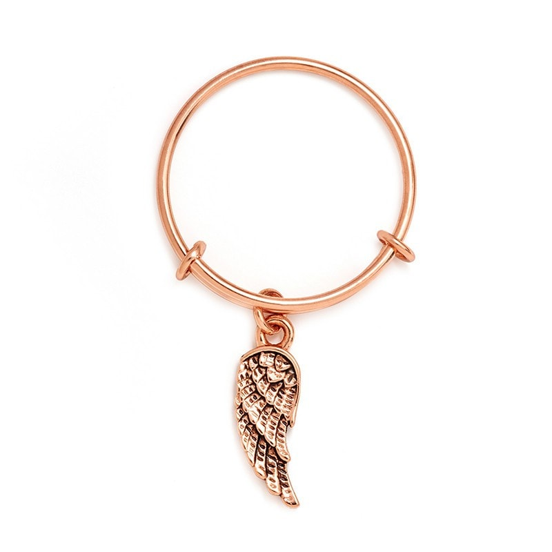 Chrysalis Charmed Guardian Angel Expandable Ring in Rose Gold