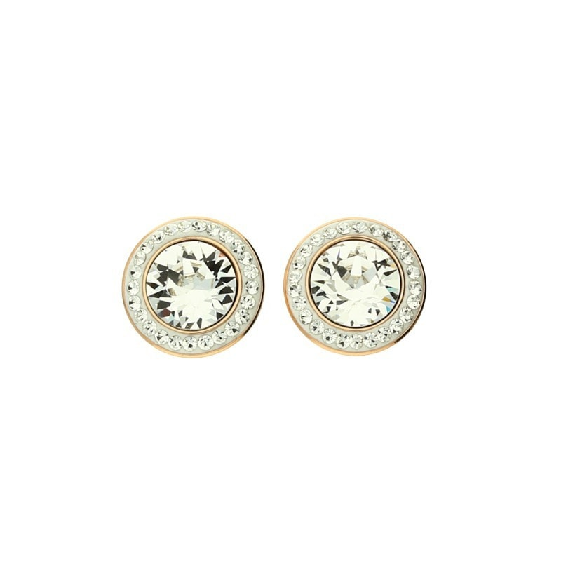 Qudo Famosa Tondo Deluxe Rose Gold Crystal Studs