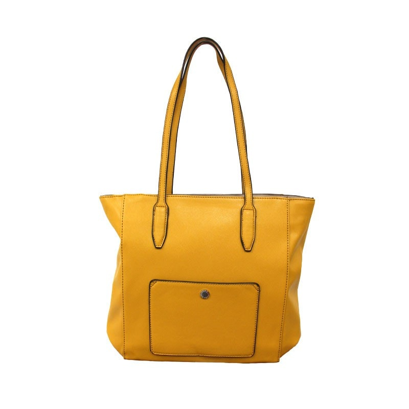 David Jones Tote Shopper Handbag with Pocket Detailing in Yellow