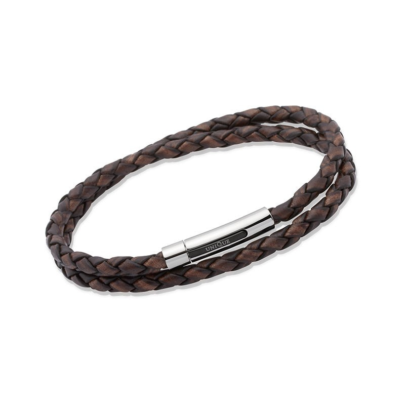 Unique Mens Antique Dark Brown Leather Bracelet