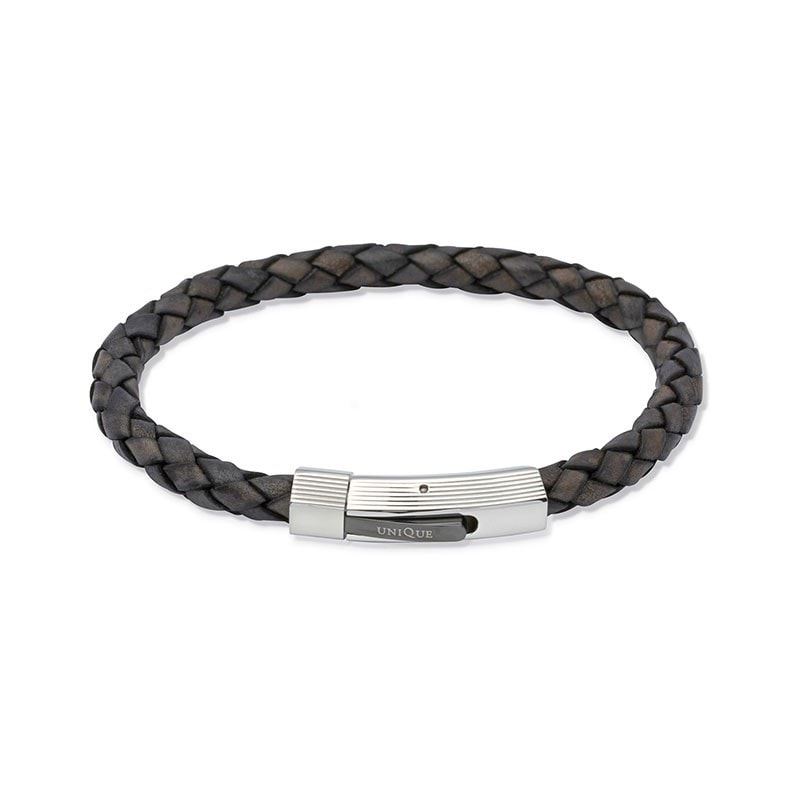Unique Mens Antique Black Leather Bracelet