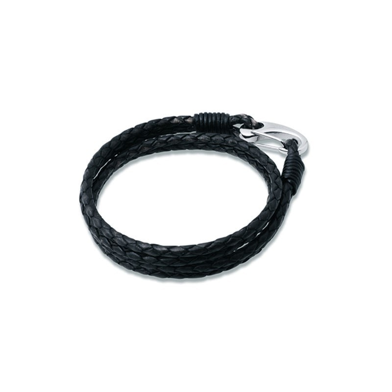 Unique Mens Antique Black Leather Bracelet With Steel Shrimp Clasp
