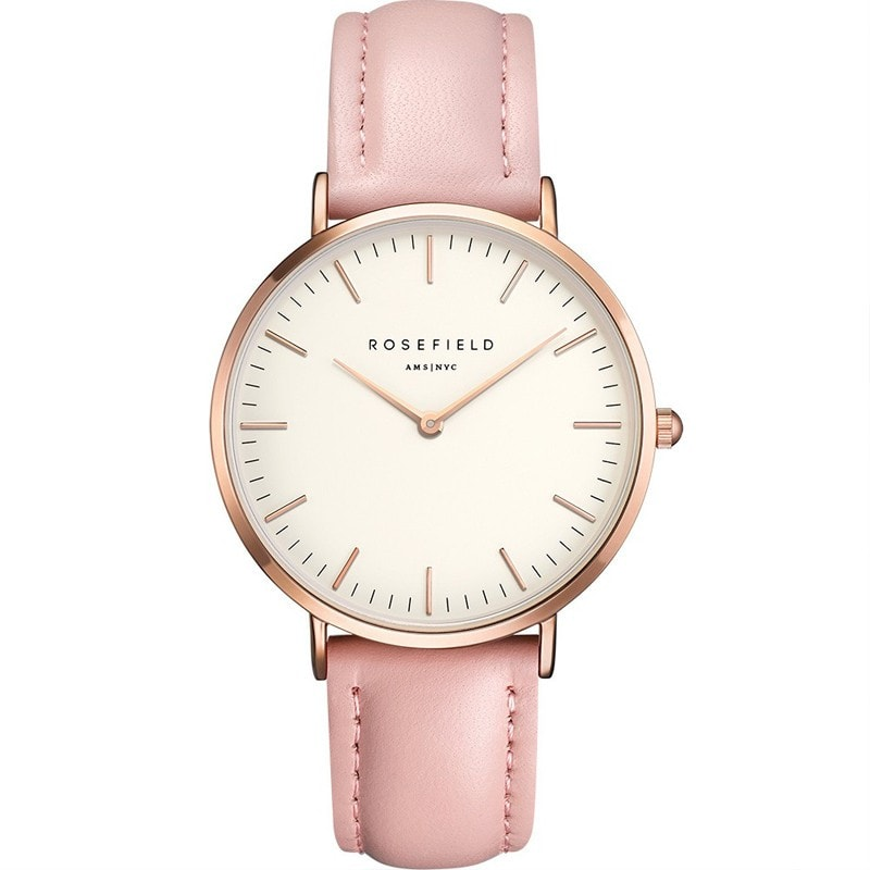Rosefield Bowery White with Rose Gold on Pink Leather Strap Watch