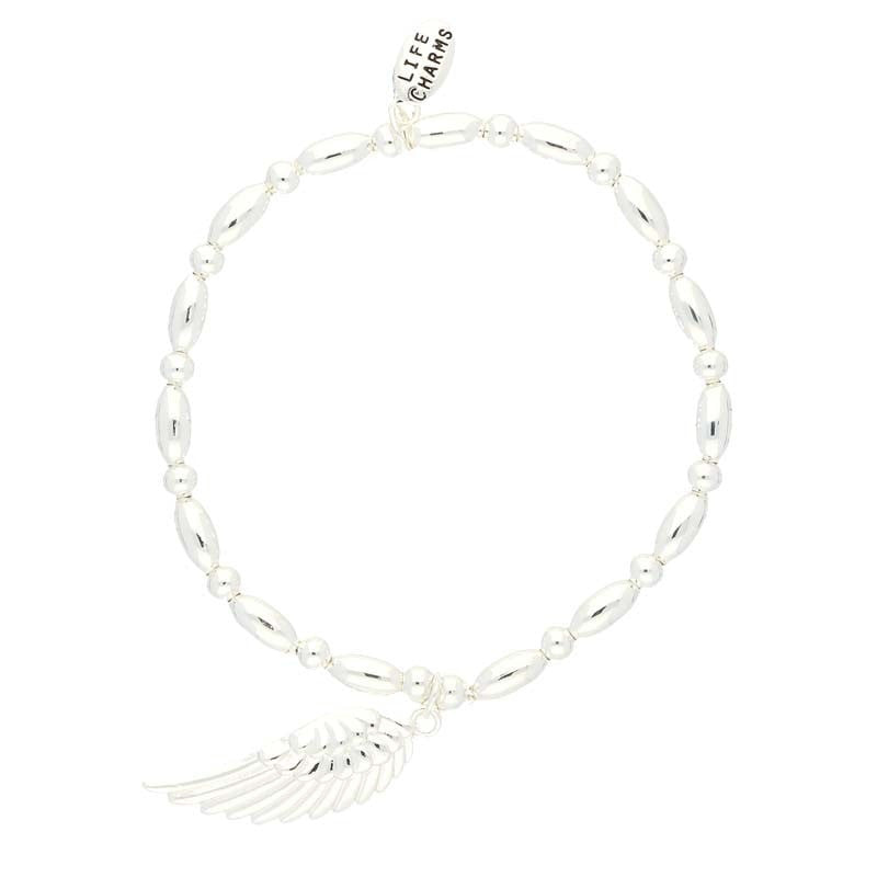 Life Charms Angel Wing Silver Charm Bracelet