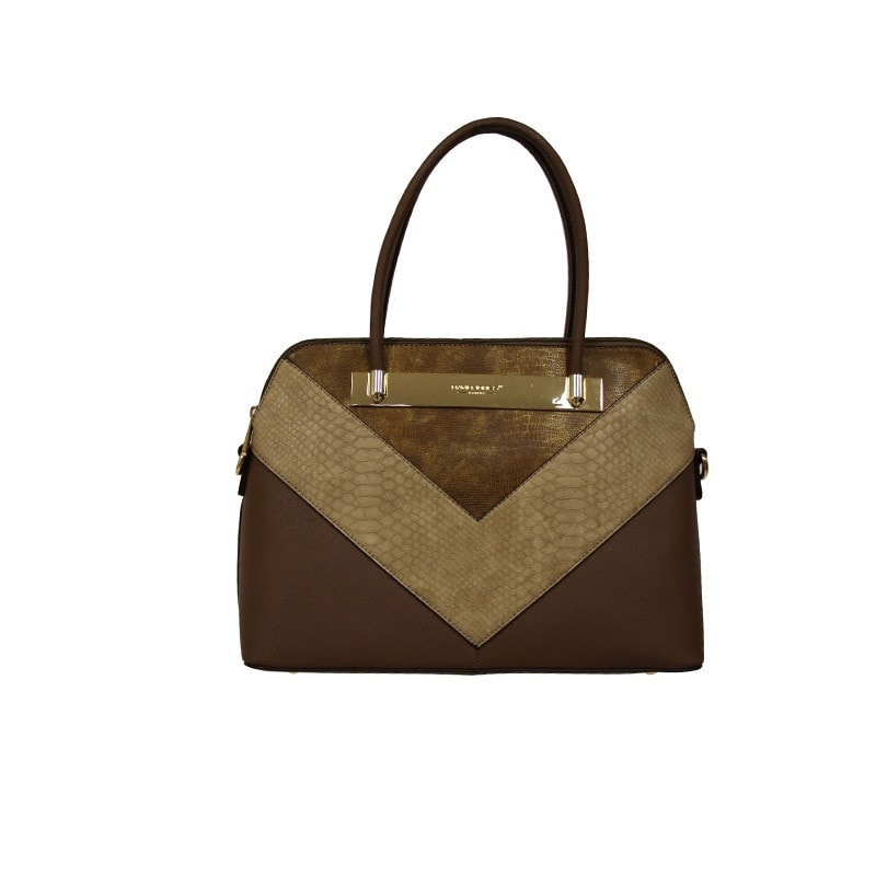 David Jones Structured Handbag with Asymmetric and Metal Detailing in Brown