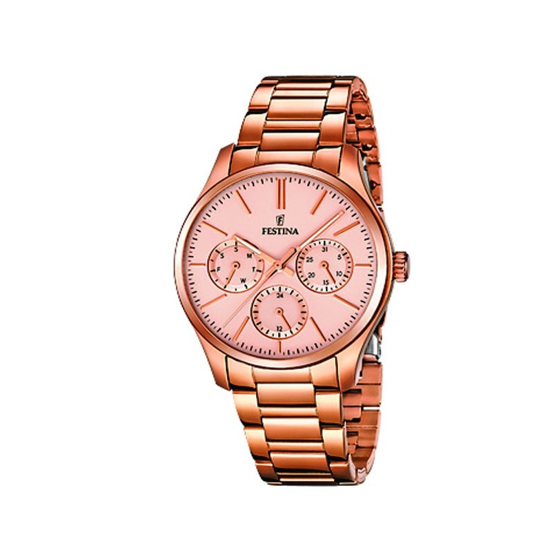 Festina Ladies Rose Gold Plated Multi-Function Watch with St