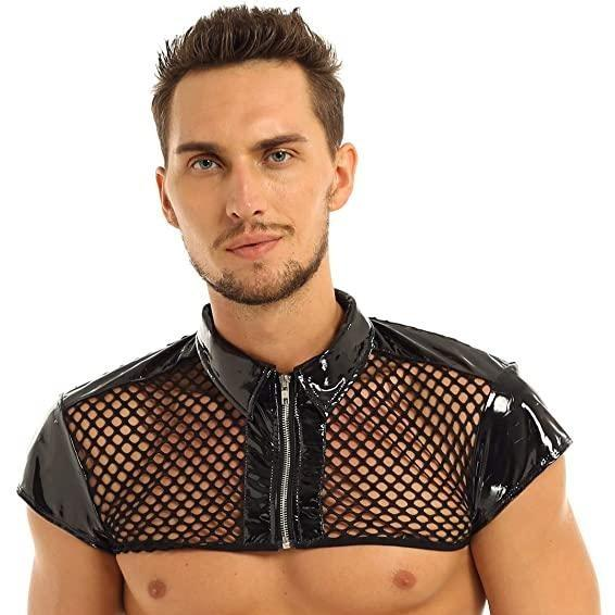 Patent Leather Mesh Crop Top - Platooners