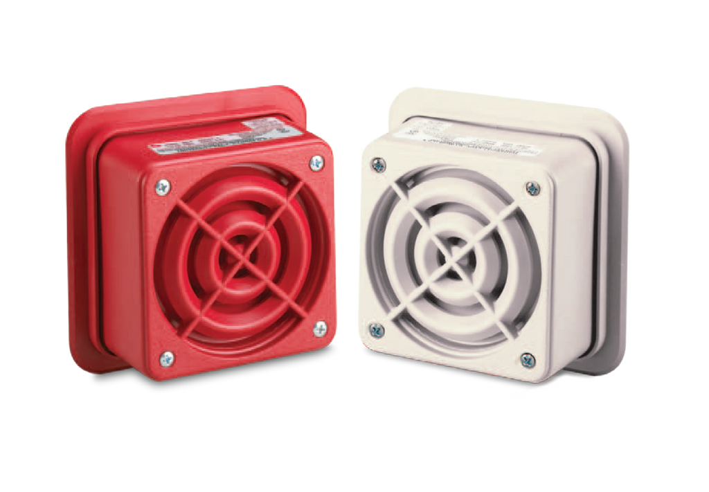 "Speaker, 4"", 25Vrms or 70Vrms, transformer coupled, UL, Beige or Red"